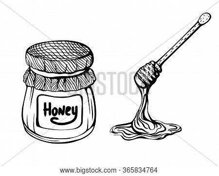 A Jug Of Honey And A Honey Stick. Bee Honey. Vector Illustration In The Doodle Style.