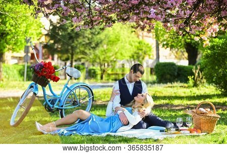 Happy Together. My Darling. Anniversary Concept. Idyllic Moment. Man And Woman In Love. Picnic Time.