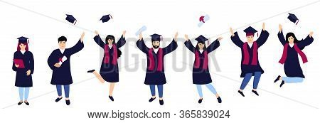 A Group Of Students In Graduation Gowns Celebrate Completion Of Studies. Boys And Girls Having Fun J