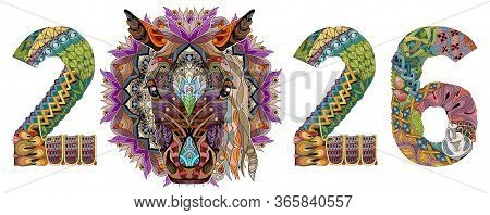 Zentangle Stylized Horse Number 2026. Hand Drawn Lace Vector Illustration
