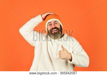 Fashion Concept. Winter Clothes And Accessories. Feeling Good. Mature Emotional Hipster Funny Style