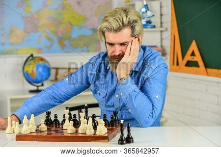 Development Logics. Chess Is Life In Miniature. Chess Lesson. Strategy Concept. School Teacher. Boar