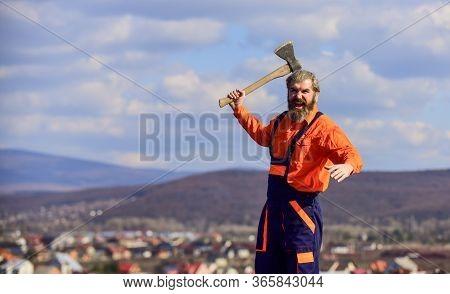 Hard Labour. Renovation Tools. Handsome Guy Brutal Temper. Professional Occupation. Man In Uniform H
