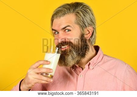 Emotional Bearded Man Hold Glass Of Milk. Vegan Milk Concept. Vegan Milks Made From Wide Variety Of