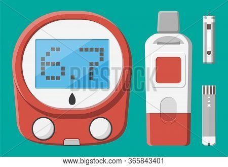 Testing Blood Glucose Concept. Glucometer, Test Strips And Lancet. Test Equipment And Medicine. Heal