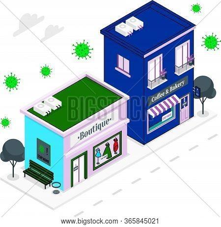 Closed Shops During Corona Virus Quarantine In The City.