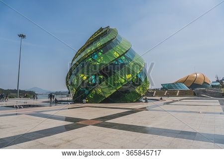 Glass Pavilion In The Form Of A Flower Bud Of The Artichoke In The Lam Vien Square. Dalat, Vietnam -