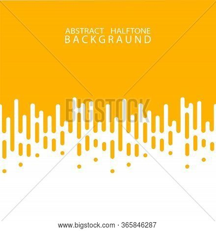Abstract Yellow Halftone Rounded Lines Halftone Transition. Vector Background. Abstract Concept . Ve