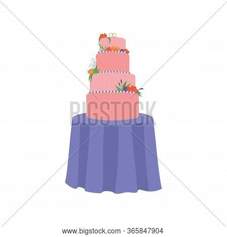 Cartoon Wedding Cake With Cream Flowers And Wedding Rings On Top, Isolated On White Background. Cele