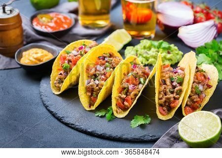 Taco Shell Nachos With Beef, Guacamole, Chili, Cheese Salsa, Tequila