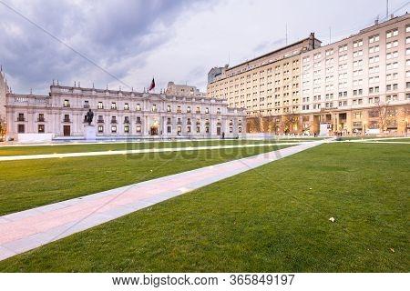 Santiago, Region Metropolitana, Chile - June 06, 2016: Palacio De La Moneda, Or La Moneda, Chilean P