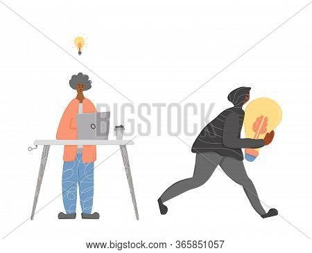 Plagiarism Concept, Infringement Of Copyright. Young Man Creating An Idea And Pirate Stealing It Met