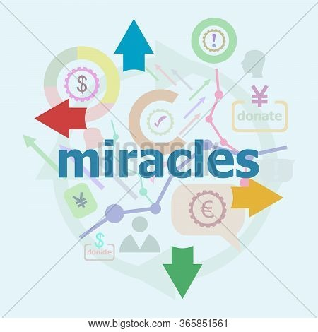 Text Miracles. Social Concept. Abstract Infographics Options Template. Can Be Used For Workflow Layo