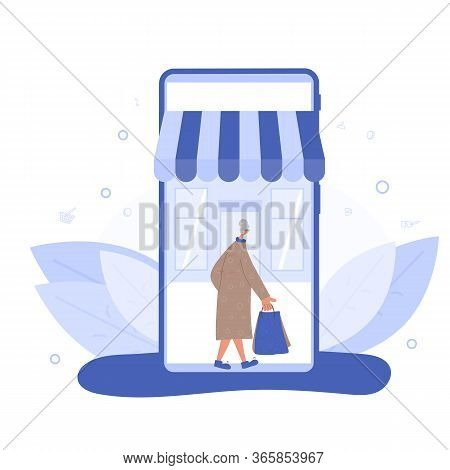 Online Shop. Mature Female Person Going With Shopping Bags On Smartphones Screen. E-commerce Concept