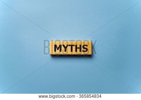 Word Myths On Colorful Wooden Cubes, News Concept