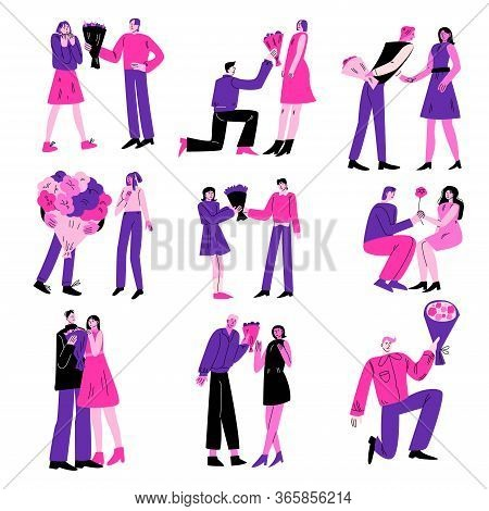 Young Men Giving Flowers Bouquets To Their Beloved Women Vector Illustration