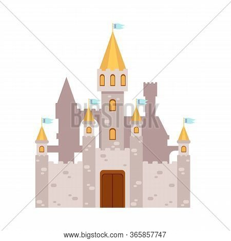 Fabulous Fairy Tales Castle Icon Or Symbol, Flat Vector Illustration Isolated.