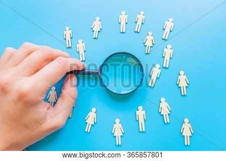 The Crowd Of Wooden Figures Of People. Concept Of Business Team. Labor Collective. Teamwork. Employe