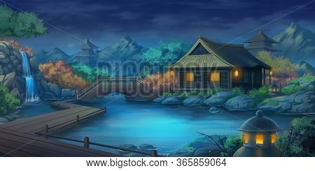 Beautiful Japanese Courtyard Landscape In The Night. Fantasy Backdrop. Concept Art. Realistic Illust