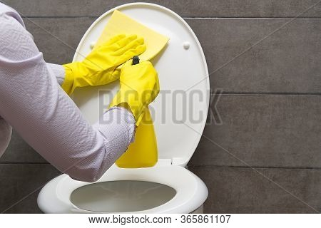 Women Cleaning Wc. Housewife Cleaning Toilet Or Toilet Cleaning Brush Up Wc For Cleanliness And Hygi