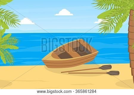 Wooden Rowing Boat, Small Boat On Bank Of River Or Lake, Summer Mountain Landscape Vector Illustrati