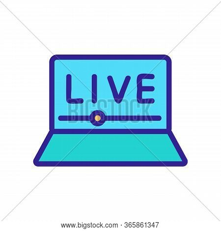 Watching Online Video Icon Vector. Watching Online Video Sign. Color Symbol Illustration