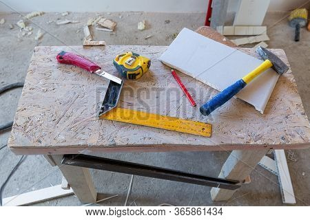 Some Construction Materials - Ruler, Construction Knife, Tape-measure And Pencil, Plastic Detail Are