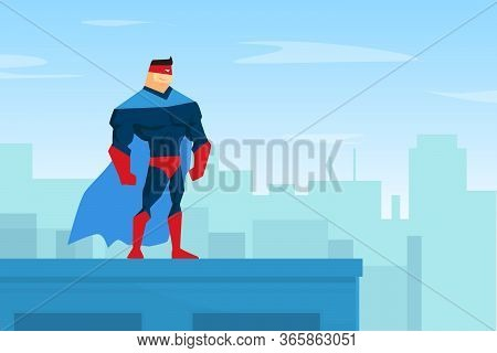 Brave Muscular Superhero Character In Blue Waving Cloak Standing On Top Of Roof Vector Illustration