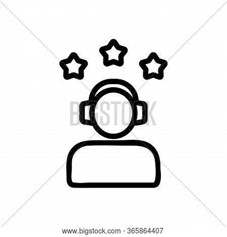 Three Star Gamer Icon Vector. Three Star Gamer Sign. Isolated Contour Symbol Illustration