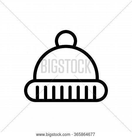 Warm Hat Icon Vector. Warm Hat Sign. Isolated Contour Symbol Illustration