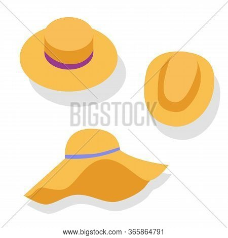 A Close Up Of Graphics. Hat Types Of Icons Set Headdress. Stock Vector Cartoon Illustration Of 3 Typ