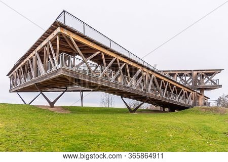 Koblenz, Germany - December 02, 2019: Modern Viewing Platform On Koblenz Hill. View On The Historica