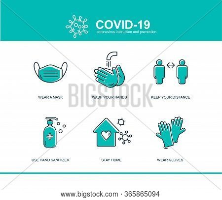 Coronavirus Covid Prevention Tips Icon, How To Prevent Template. Infographic Element Health And Medi