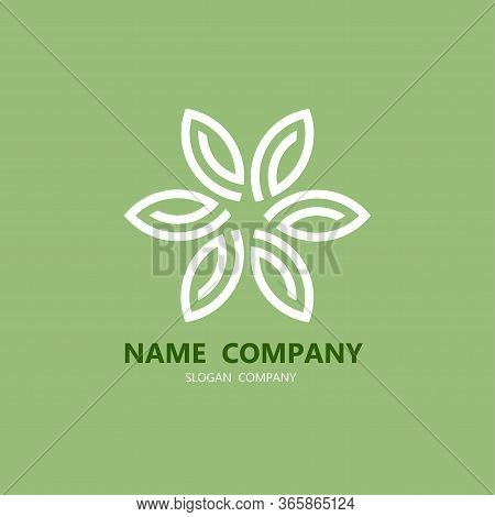 Flower Logo Circle Abstract Design Vector Template. Lotus Spa Icon. Cosmetic Symbol Hotel Garden Bea