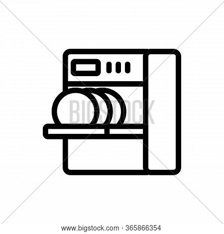 Loading Dishes Into Dishwasher Icon Vector. Loading Dishes Into Dishwasher Sign. Isolated Contour Sy