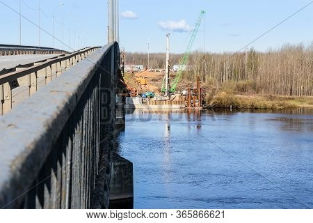 Kirishi, Russia - 8 May, Start Of Construction Of A New Bridge Next To The Old, 8 May, 2020. Start O