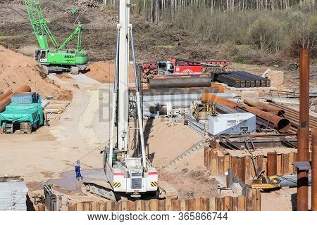 Kirishi, Russia - 8 May, Heavy Special Equipment At A Construction Site, 8 May, 2020. Start Of Const