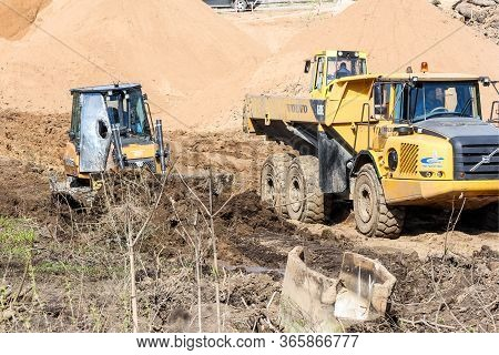 Kirishi, Russia - 8 May, Heavy Special Equipment For Earthworks, 8 May, 2020. Start Of Construction