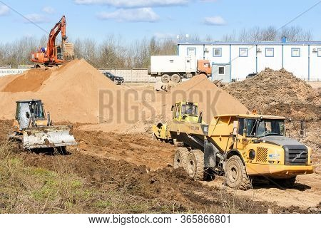 Kirishi, Russia - 8 May, Construction Special Equipment For Earthworks , 8 May, 2020. Start Of Const
