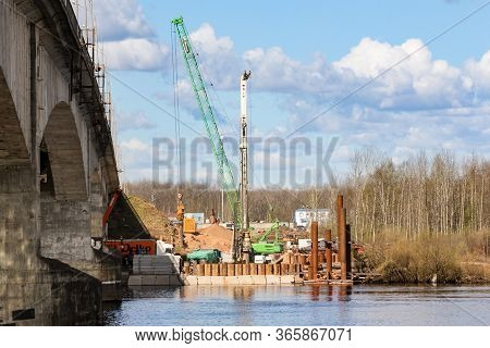 Kirishi, Russia - 8 May, Start Of Construction Of A New Bridge Near The Old, 8 May, 2020. Start Of C