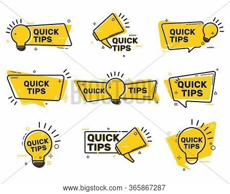 Quick Tips Flat Labels Collection. Tricks Solution Logos And Helpful Advices Vector Illustration Set