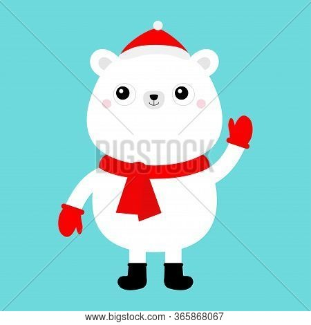 Polar White Bear Cub Face In Red Santa Hat, Scarf, Mittens. Cute Cartoon Kawaii Funny Baby Character