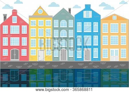 Street With Colored Houses. Flat Vector Illustration. Old Houses In The Dutch Style. Canal Houses In