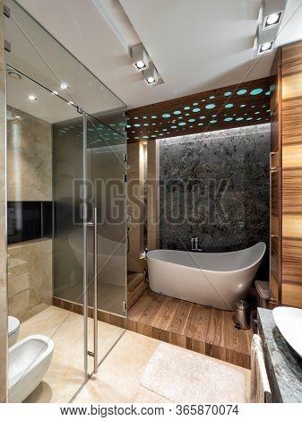 Bathroom interior design with different materials