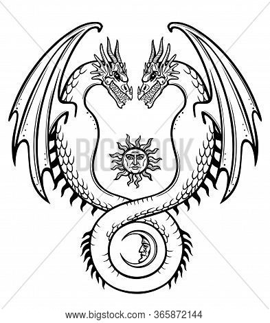 Mystical Drawing: A Double Dragon, Uroboros, A Snake With Two Heads. Alchemy, Magic, Esoterics, Occu
