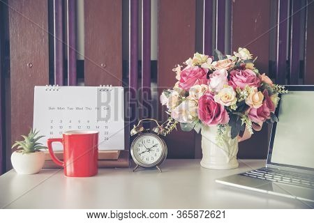 Calendar And Laptop For Planner And Organizer To Plan And Reminder Daily Appointment , Meeting Agend