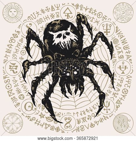 Decorative Illustration With A Big Black Spider On The Background Of Cobweb And Unreadable Scrawls W
