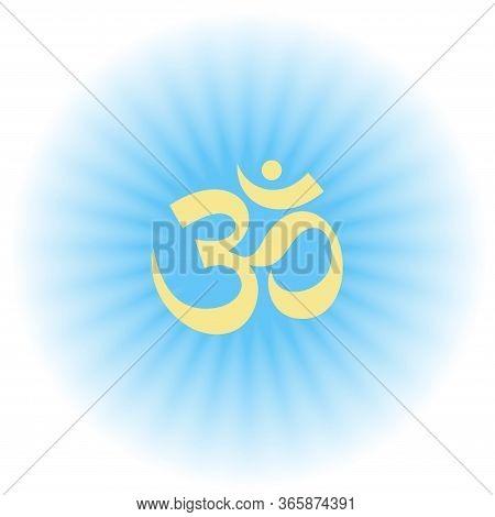 Om Sign. Vector Sacral Icon. Gloss And Shine. Meditation Symbol. Yoga