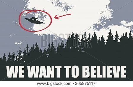 Vector Banner On The Theme Of Alien Invasion. Black And White Illustration With An Ufo Flying Over T