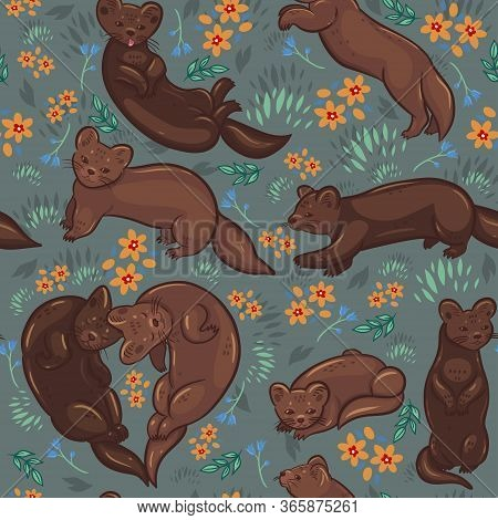 Seamless Pattern With Sables On A Summer Meadow. Vector Image.